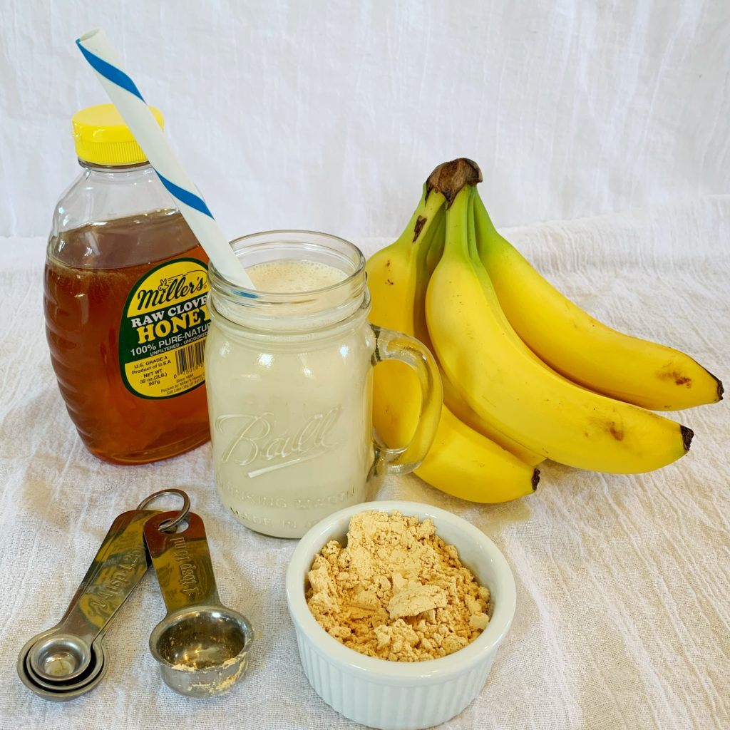 Power protein banana peanut smoothie. The perfect thing to start off your day right and with a touch of nostalgia.